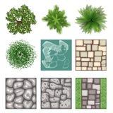 Landscape design top view vector elements Royalty Free Stock Photos