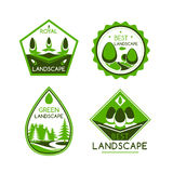 Landscape design vector icons or emblems set Stock Photo