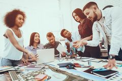 Landscape. Designers. Group. Generate Idea. Table. Landscape Designers Group. Generate Idea Teamwork. Designers Different Races Project Cooperation royalty free stock image