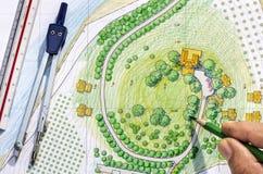 Landscape Designs Blueprints Stock Photos