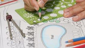Landscape Designs Blueprints For Resort stock footage