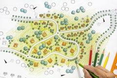 Landscape Designs Blueprints For Resort. Stock Photos