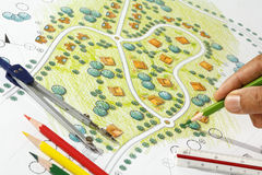 Landscape Designs Blueprints For Resort. Stock Image