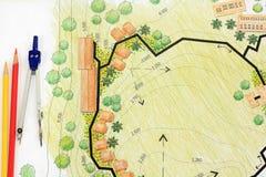 Landscape Designs Blueprints For Resort. Royalty Free Stock Images
