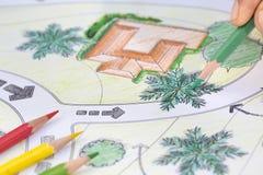 Landscape Designs Blueprints For Resort. Landscape Designs Blueprints For Resort Project stock photography