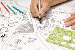 Landscape Designs Blueprints For Resort. Stock Images