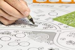 Landscape Designs Blueprints For Resort. Royalty Free Stock Image
