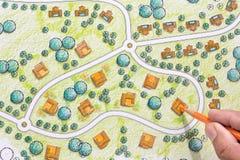 Landscape Designs Blueprints For Resort. Royalty Free Stock Photo