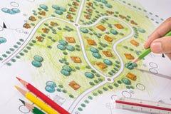 Landscape Designs Blueprints For Resort. Stock Photography