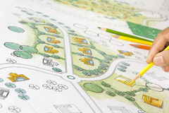 Landscape Designs Blueprints For Resort. Royalty Free Stock Photography