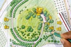 Landscape Designs Blueprints For Resort. Stock Photo