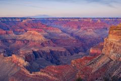 Landscape detail view of Grand canyon after sunset Stock Photography
