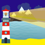 Landscape with detailed lighthouse, mountain range and sea. Vect Royalty Free Stock Images