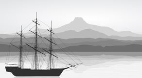 Landscape with detailed old ship Royalty Free Stock Photography