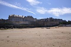 Landscape of dinan(brittany). The old city of dinan(brittany) seen from the beach royalty free stock photo