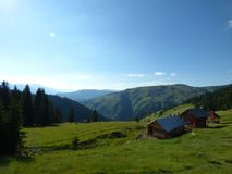 Landscape of the Dinaric Alps and country houses Royalty Free Stock Photo