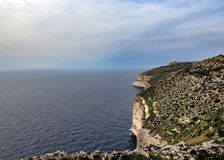 Landscape with Dingli cliffs and majestic views of the Mediterranean sea and the lush countryside, Malta royalty free stock photo