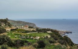 Landscape with Dingli cliffs and majestic views of the Mediterranean sea and the lush countryside, Malta stock image