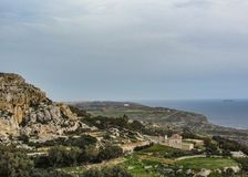 Landscape with Dingli cliffs and majestic views of the Mediterranean sea and the lush countryside, Malta stock images