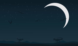 Landscape dinosaur at night silhouettes. Vector illustration Royalty Free Stock Photography