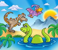 Landscape with dinosaurs 1. Color illustration Stock Photos