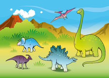 Landscape with dinosaurs Royalty Free Stock Photo