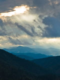 Landscape of Divcibare mountain with dark clouds at Sunset Stock Image