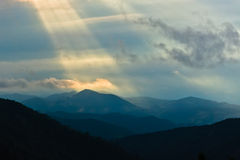 Landscape of Divcibare mountain with dark clouds at Sunset Royalty Free Stock Photography