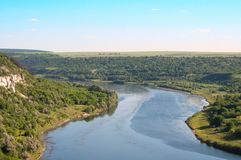 Landscape of the Dniester River Stock Photo