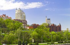 Landscape of the Dnipro city, view of the buildings, skyscrapers and park from the Monastery Island, Ukraine stock photo