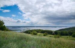Landscape of Dnipro river. Ukraine. Stock Photo