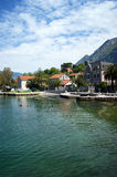 Landscape in Dobrota. Landscape with a fragment of the waterfront village of Dobrota (Montenegro Stock Photo