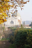 Landscape with a dog, the dome of the cathedral and the park fro Royalty Free Stock Image