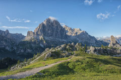 Landscape in Dolomites with blue sky with clouds, Cinque Torri area, Veneto, Italy Royalty Free Stock Image