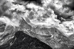 Landscape of Dolomites Mountains. Panorama of Dolomites Mountains in Trentino Italy Royalty Free Stock Photo