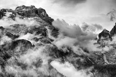 Landscape of Dolomites Mountains. Panorama of Dolomites Mountains in Trentino Italy Stock Photo