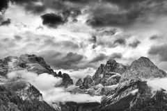 Landscape of Dolomites Mountains. Panorama of Dolomites Mountains in Trentino Italy Royalty Free Stock Photos