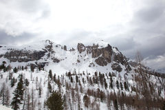 Landscape at Dolomites. Snowy landscape at Dolomites alps, Italy Royalty Free Stock Image