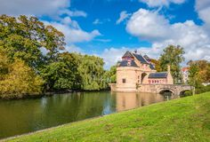 Landscape with Donkey`s gate Ezelpoort, Bruges, Belgium royalty free stock images