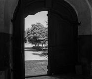 Landscape door. View of the city through open doors Royalty Free Stock Photography