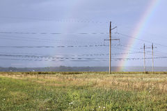 Landscape with a double rainbow Stock Photography