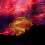 Landscape with dramatic red sky, lightnings, celestial body and silhouettes of trees Stock Photo