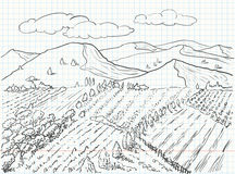 Landscape drawing Royalty Free Stock Photography