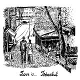 Landscape drawing a pair of lovers walking through the old town of Istanbul hand-drawn Stock Images