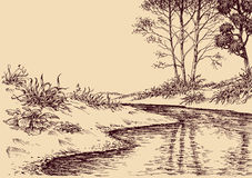 Landscape drawing Stock Images