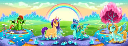 Landscape of dreams with rainbow and fantasy animals stock illustration