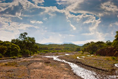 Landscape of a dry river. In the hills Stock Photo