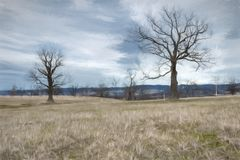 Landscape with dry trees painted with Watercolor royalty free stock image