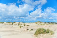 Landscape Dunes in front of empty beach stock photo