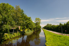 Landscape in Dutch Friesland. Landscape with canal in Dutch Friesland Stock Image